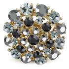 Kerek, állítható nemesacél gyűrű ékszer, szürke és fekete cirkónia kristállyal