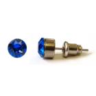 Jazzy Swarovski kristályos fülbevaló - Kerek foglalatos Capri Blue