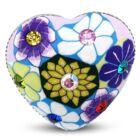 Szív alakú, halványlila virág mintás állítható nemesacél gyűrű ékszer cirkónia kristállyal