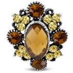 Virág formájú, ovális, állítható nemesacél gyűrű ékszer, cirkónia kristállyal