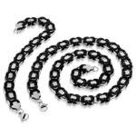 Fekete színű bizánci nemesacél nyaklánc és karlánc ékszer szett