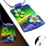 Lila-zöld virágos nyaklánc
