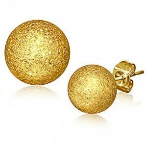 1 cm átmérőjű arany színű gömb alakú nemesacél fülbevaló
