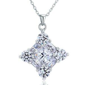 3 karátos szögletes gyémánt nyaklánc - 925 ezüst ékszer