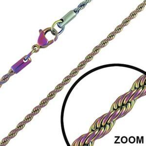 3 mm-es színes nemesacél nyaklánc ékszer