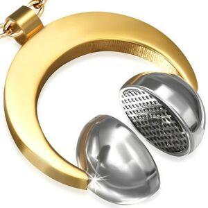 3D Fülhallgató nemesacél medál ékszer