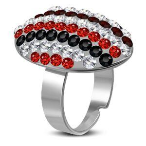 Állítható nemesacél gyűrű ékszer, piros cirkónia kristállyal