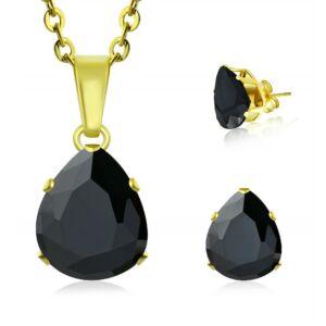 Arany színű fekete cirkónia kristállyal díszített szett - nyaklánc + fülbevaló