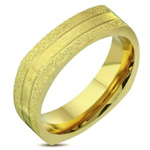 Arany színű, homokfújt nemesacél gyűrű