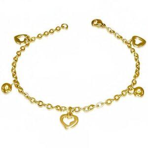 Arany színű nemesacél bokalánc szíves medálokkal