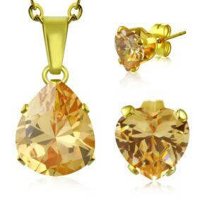 Arany színű nemesacél ékszerszett topáz színű, csepp alakú cirkónia kővel - nyaklánc és fülbevaló