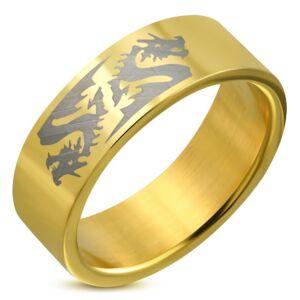 Arany színű, sárkány mintás nemesacél gyűrű ékszer