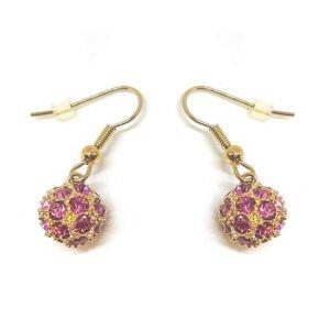 Berry Swarovski kristályos fülbevaló - Arany és rózsaszín színű