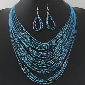 Blaue - Divatos bizsu nyaklánc, fülbevaló szett