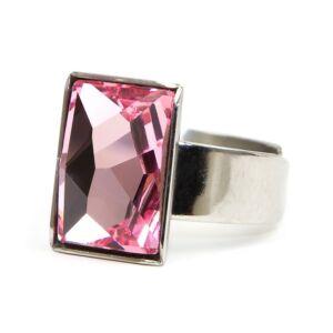 Caroling Swarovski® kristályos nemesacél gyűrű - Light Rose
