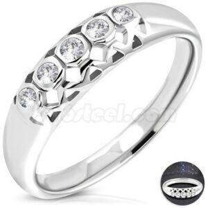 Cirkónia kristályos nemesacél eljegyzési gyűrű-5