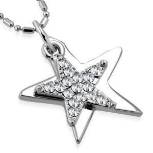 Csillag alakú, fehér kristállyal ékesített női nyaklánc