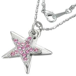 Csillag alakú, rózsaszín kristállyal ékesített női nyaklánc