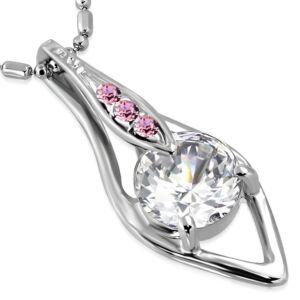 Csiszolt, rózsaszín cirkónia kristállyal ékesített női nyaklánc
