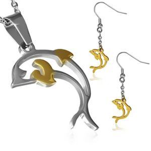 Delfin alakú medál és fülbevaló szett nyaklánccal