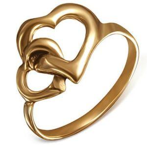 Dupla szívecskés nemesacél gyűrű ékszer