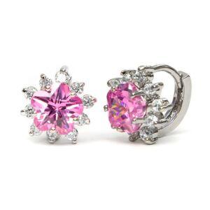 Elma Swarovski kristályos fülbevaló - Pink virág