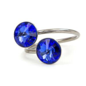 Exo Swarovski® kristályos nemesacél gyűrű - Bermuda Blue