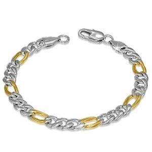 Ezüst és arany színű nemesacél karlánc ékszer