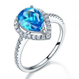 Ezüst gyűrű kék szintetikus gyémánt kővel-5