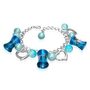 Ezüst színű karlánc kék üvegdíszekkel