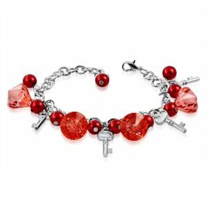 Ezüst színű karlánc piros üvegdíszekkel rózsaszín