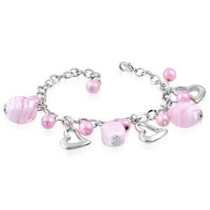 Ezüst színű karlánc rózsaszín üvegdíszekkel