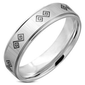 Ezüst színű, két tónusú, görög mintás nemesacél gyűrű ékszer