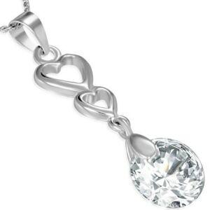 Ezüst színű nyaklánc cirkónia kristályos medállal, szív alakú dísszel