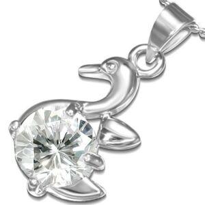 Ezüst színű nyaklánc, kacsa formájú cirkónia kristályos medállal