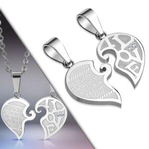 Ezüst színű szív alakú nemesacél medál ékszer cirkónia kristállyal