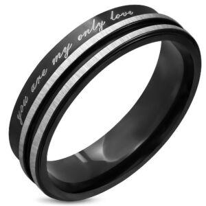 Fekete és ezüst színű nemesacél gyűrű ékszer
