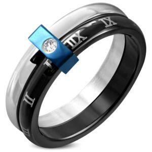 Fekete és ezüst színű nemesacél gyűrű ékszer, cirkónia kristállyal