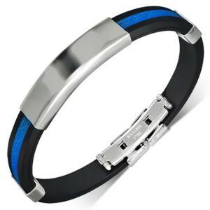 Fekete és kék színű, gravírozható kaucsuk karkötő ékszer
