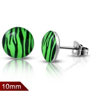 Fekete és zöld színű pont nemesacél fülbevaló ékszer