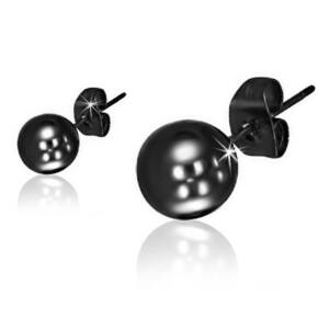 Fekete színű gömb alakú nemesacél fülbevaló