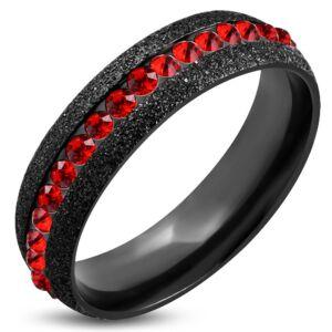 Fekete színű nemesacél gyűrű ékszer, piros színű cirkónia kristállyal