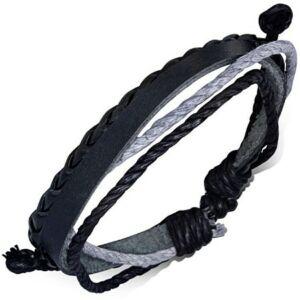 Fonott fekete bőr karkötő