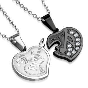 Gitár és szív formájú nemesacél medál ékszer, cirkónia kristállyal