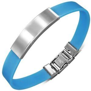 Gravírozható kaucsuk karkötő ékszer kék színben