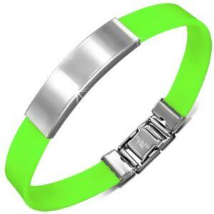 Gravírozható kaucsuk karkötő ékszer zöld színben
