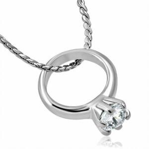 Gyűrűs, cirkónia kristállyal díszített ezüst színű nyaklánc