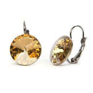 Hold Swarovski® kristályos nemesacél fülbevaló - Golden Shadow