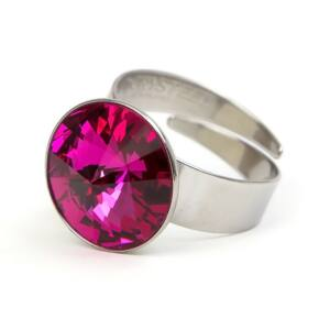 Hold SWAROVSKI® kristályos nemesacél gyűrű - Fuchsia