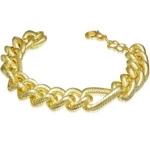 Hornyos, figaró mintázatú arany színű nemesacél karkötő